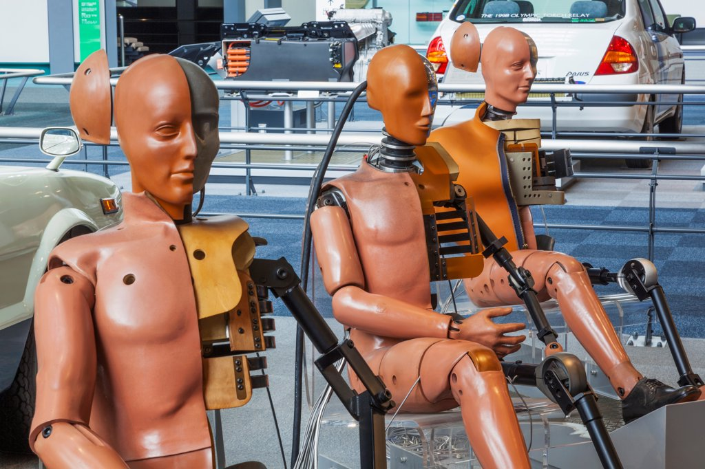 Stock Photo: 442-38887 Japan, Honshu, Aichi, Nagoya, Toyota Commemorative Museum of Industry and Technology, Automobile Pavilion, Exhibit of Crash Test Dummies