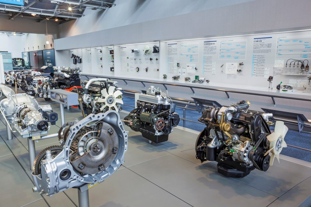Stock Photo: 442-38889 Japan, Honshu, Aichi, Nagoya, Toyota Commemorative Museum of Industry and Technology, Automobile Pavilion, Exhibit of Vintage Toyota Car Engines