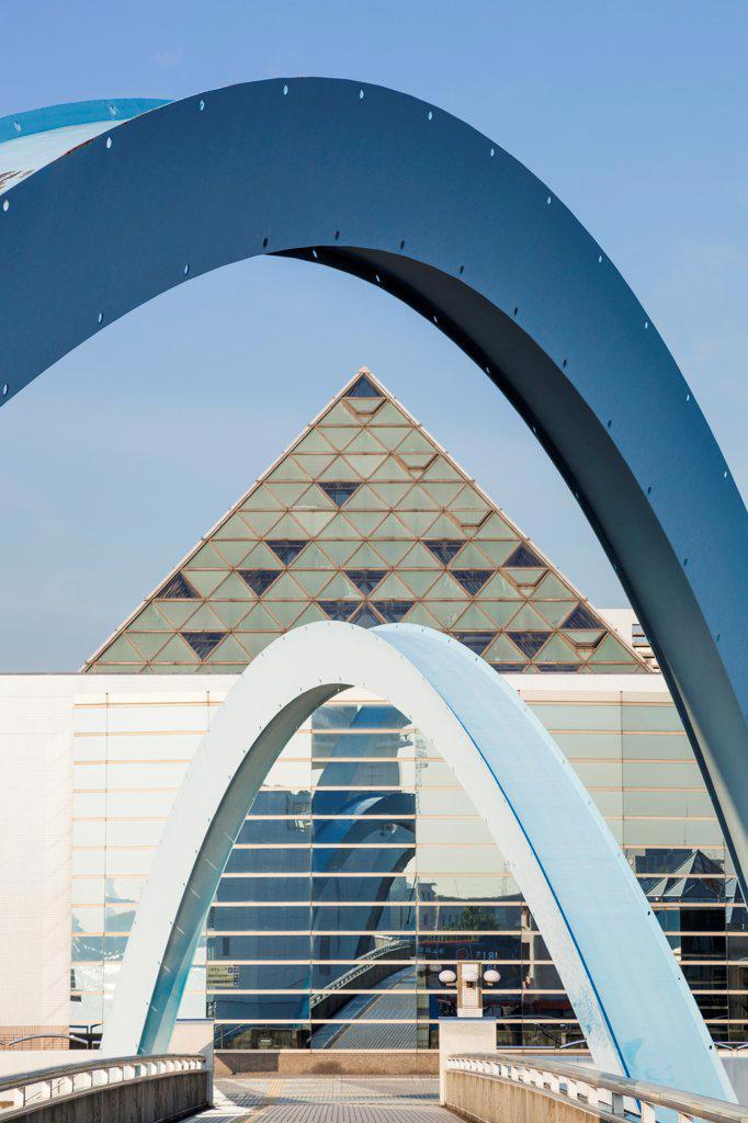 Japan, Honshu, Aichi, Nagoya, Nagoya Port, Nagoya Port Bridge and The Public Aquarium Buildings : Stock Photo
