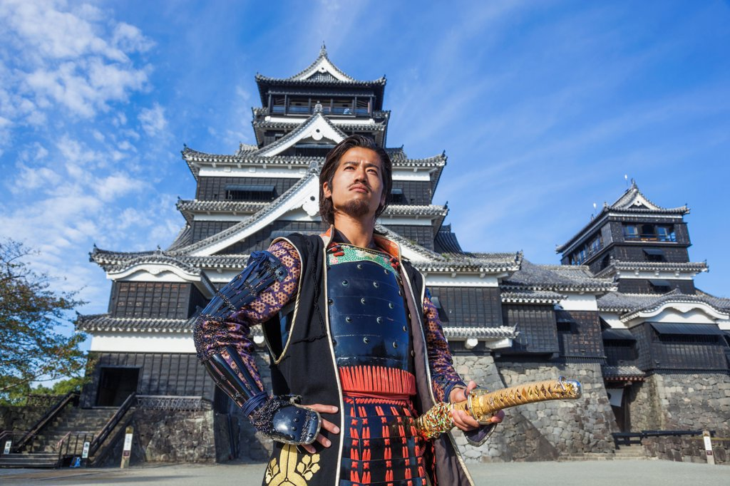 Stock Photo: 442-38922 Japan, Kyushu, Kumamoto, Kumamoto Castle, Guard Dressed in Medieval Costume