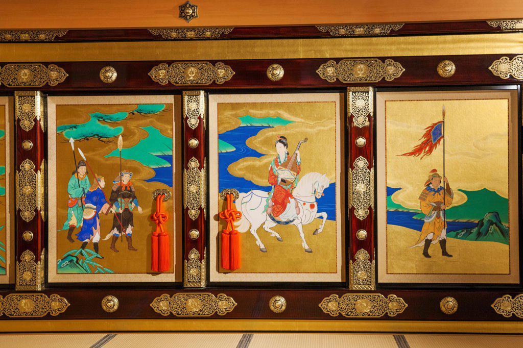 Stock Photo: 442-38930 Japan, Kyushu, Kumamoto, Kumamoto Castle, Hon-Maru Goten Palace, Painted Screens