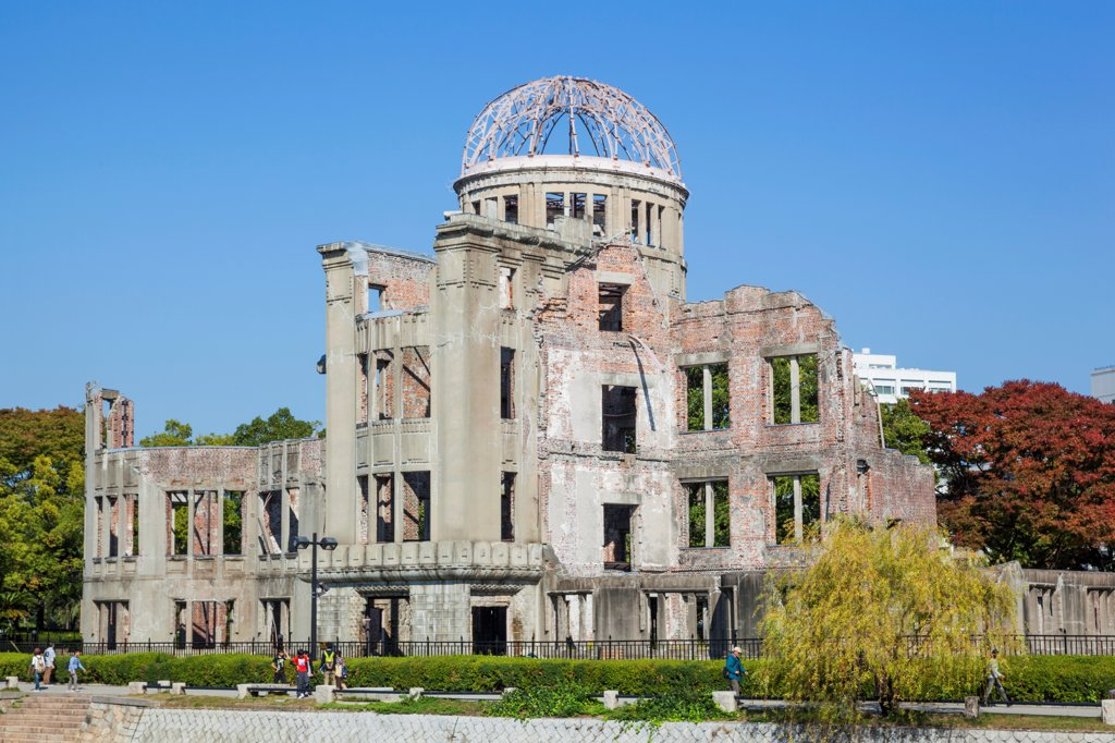 Stock Photo: 442-38940 Japan, Kyushu, Hiroshima, Peace Memorial Park, A-Bomb Dome