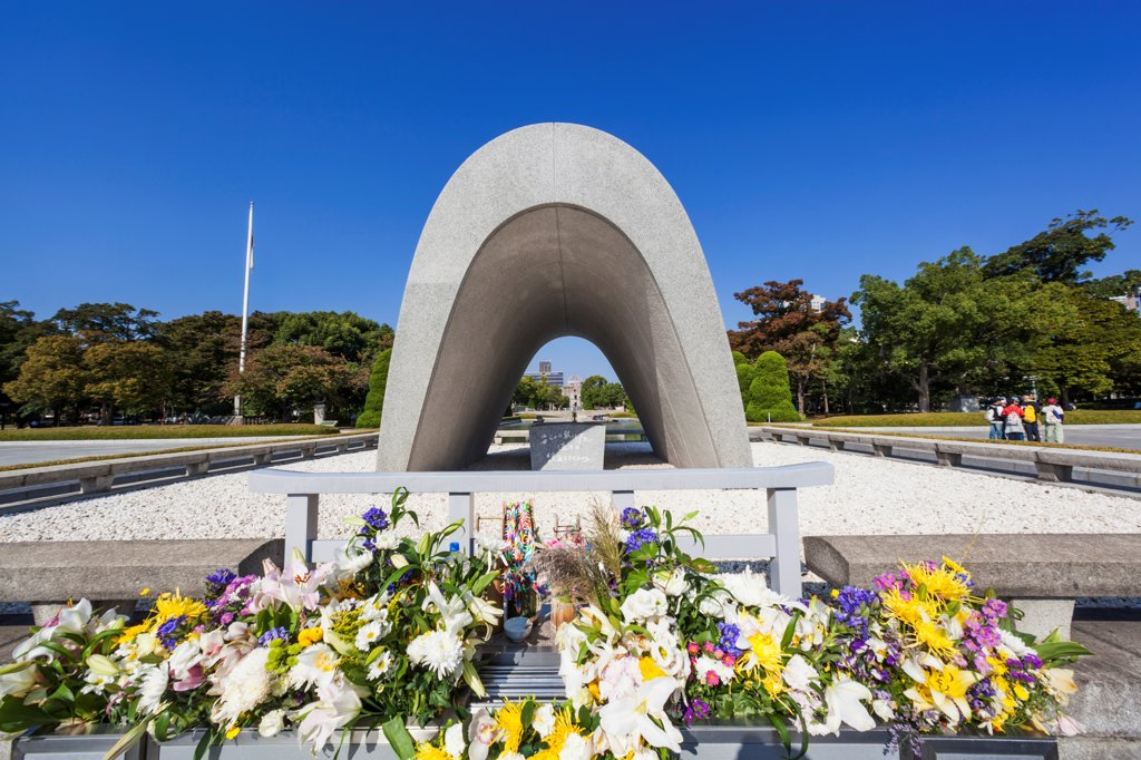 Stock Photo: 442-38944 Japan, Kyushu, Hiroshima, Peace Memorial Park, Cenotaph for the A-Bomb Victims