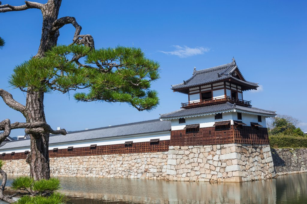 Japan, Kyushu, Hiroshima, Hiroshima Castle, Moat and Guard Tower : Stock Photo