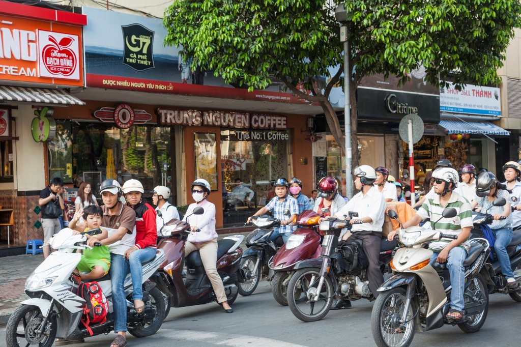 Vietnam, Ho Chi Minh City, Motorbike Traffic : Stock Photo