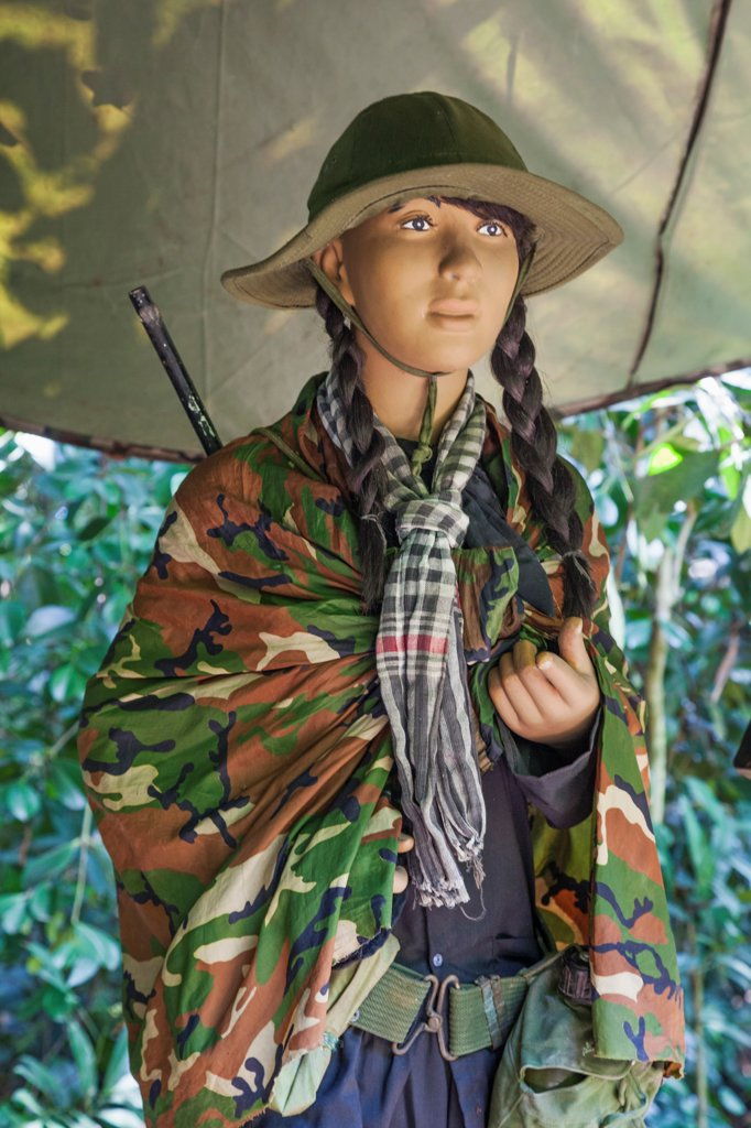 Stock Photo: 442-39007 Vietnam, Ho Chi Minh City, Cu Chi Tunnels, Exhibit of Female Vietcong Fighter