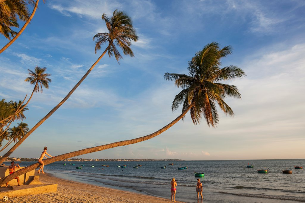 Vietnam, Mui Ne, Mui Ne Beach, Tourists and Palm Trees : Stock Photo