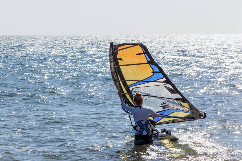 Stock Photo: 442-39080 Vietnam, Mui Ne, Mui Ne Beach, Windsurfer