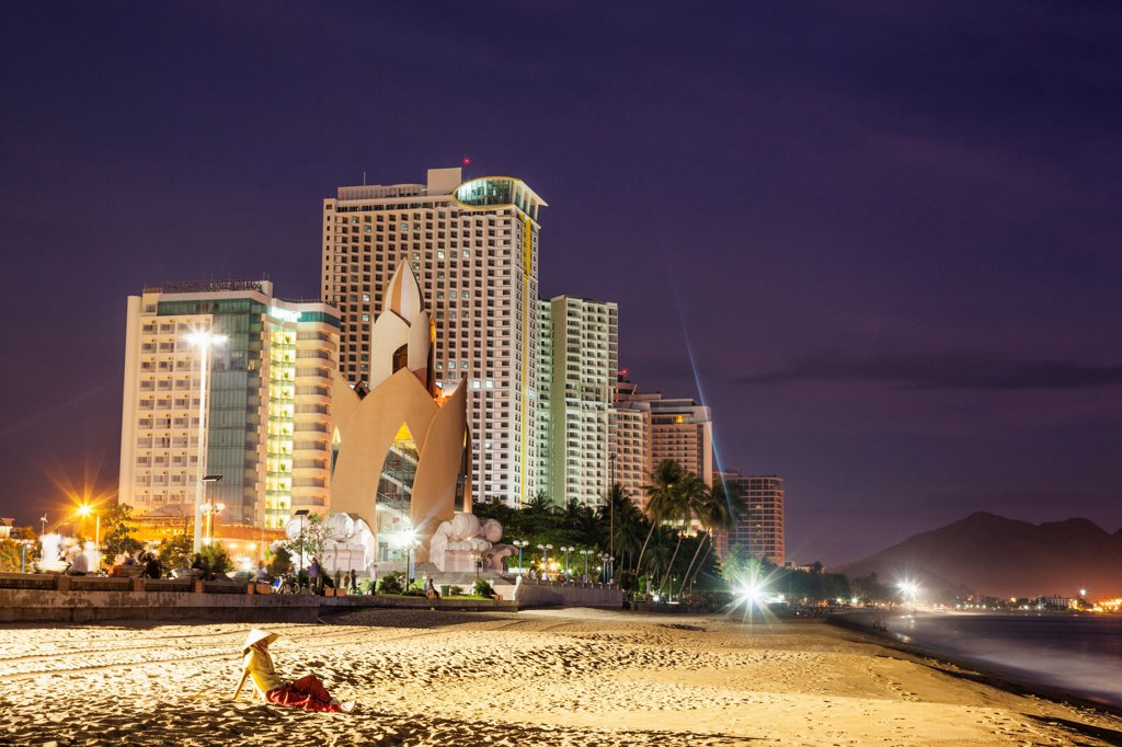Stock Photo: 442-39124 Vietnam, Nha Trang, Beachfront skyline at dusk