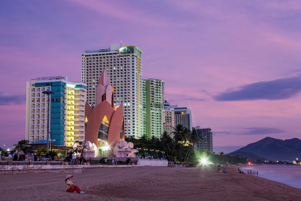 Stock Photo: 442-39125 Vietnam, Nha Trang, Beachfront skyline at dusk