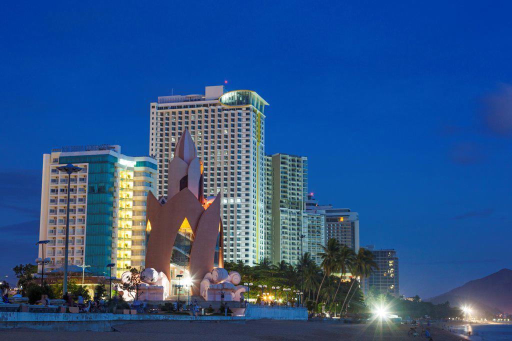Stock Photo: 442-39126 Vietnam, Nha Trang, Beachfront skyline at dusk