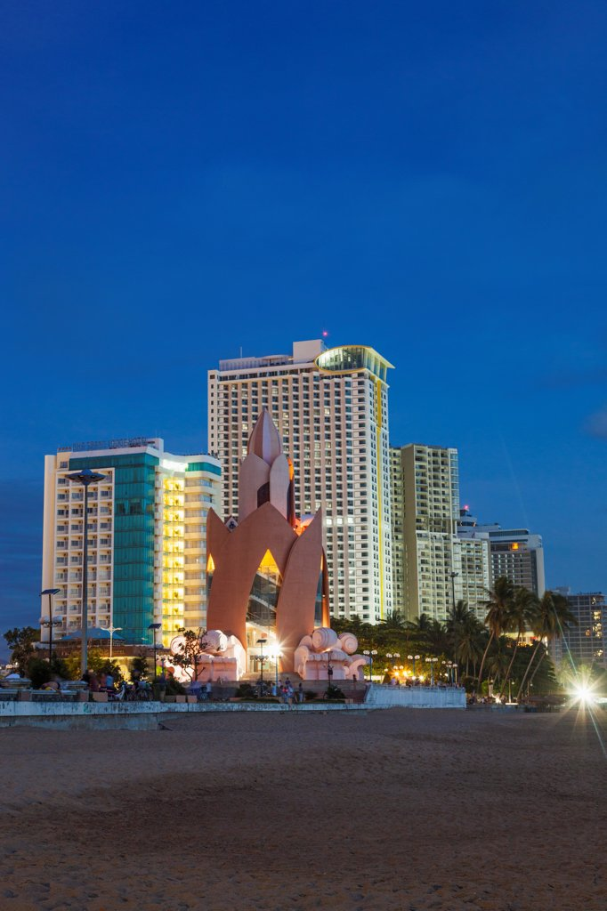 Stock Photo: 442-39127 Vietnam, Nha Trang, Beachfront skyline at dusk