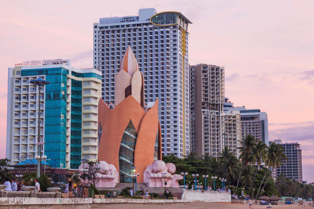 Stock Photo: 442-39129 Vietnam, Nha Trang, Beachfront skyline at twilight