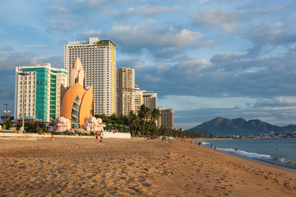 Vietnam, Nha Trang, Beachfront skyline : Stock Photo