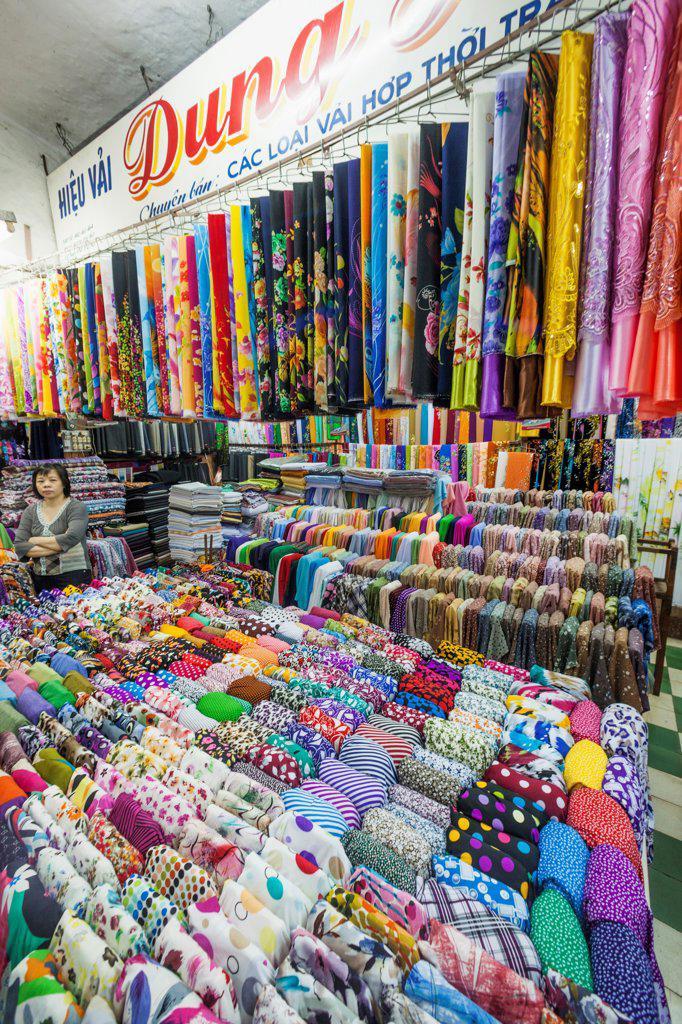 Stock Photo: 442-39154 Vietnam, Nha Trang, Dam Market, Textile market