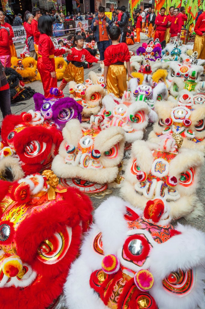 Stock Photo: 442-39437 China, Hong Kong, Lion Dance Costumes