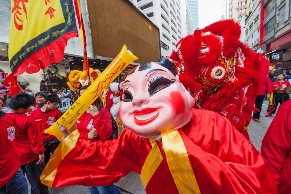 China, Hong Kong, Festival Participant in Lucky God Costume : Stock Photo