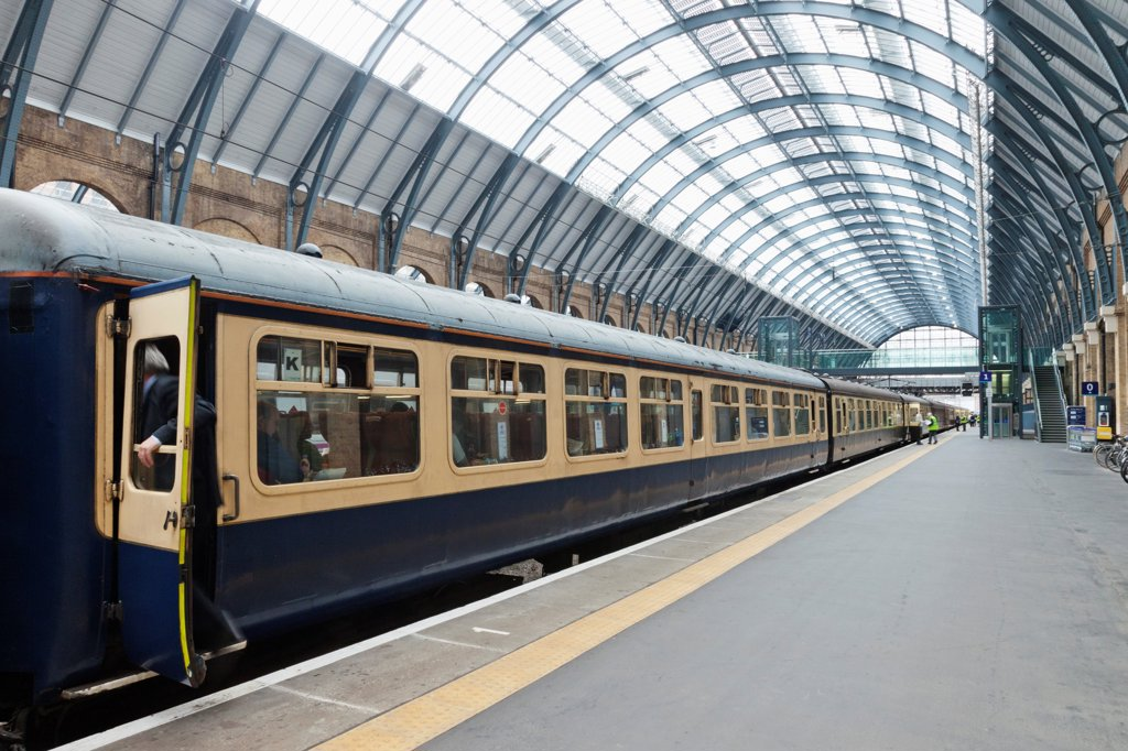 Stock Photo: 442-39683 UK, England, London, Kings Cross, Kings Cross Station, Historical 1960s Train Carriages