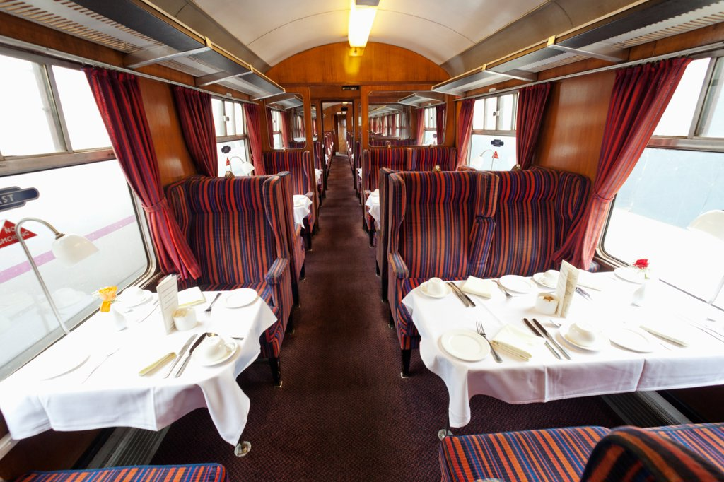 Stock Photo: 442-39686 UK, England, London, Kings Cross, Kings Cross Station, 1960s Train Carriage Dining Car