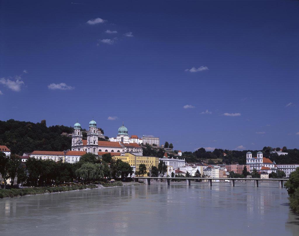 Bridge across the river, Danube River, Passau, Bavaria, Germany : Stock Photo