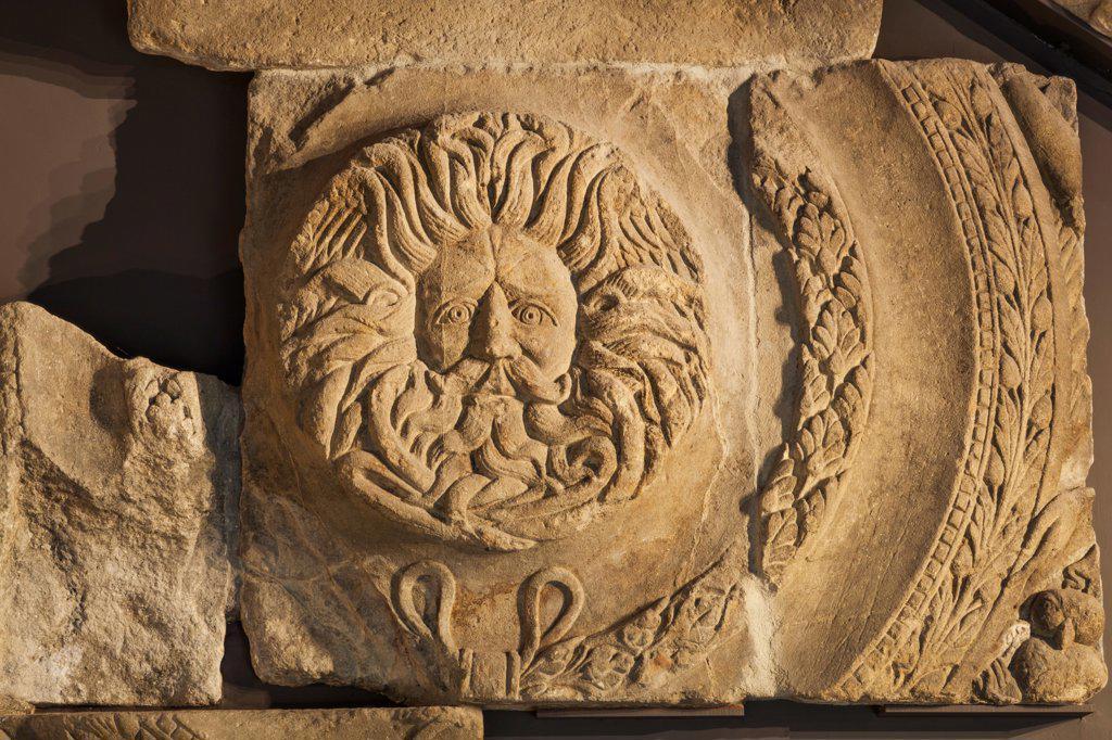 Stock Photo: 442-40136 UK, England, Somerset, Bath, Roman Baths, Gorgon's Head Statue