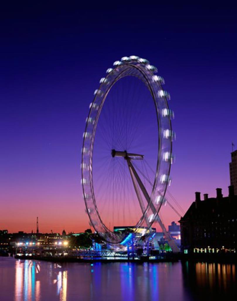 Stock Photo: 442-4173 London Eye at night, London, England