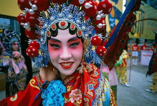 Stock Photo: 442-4278 Portrait of an opera performer in costume, Shanghai, China
