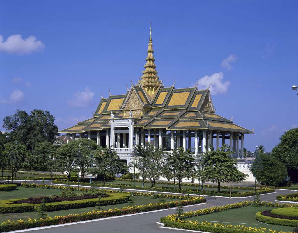 Stock Photo: 442-4328 Facade of a pavilion, Chan Chaya Pavilion, Royal Palace, Phnom Penh, Cambodia