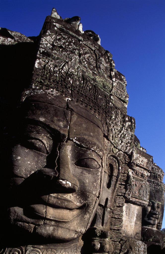 Close-up of the ruins of a statue, Bayon Temple, Angkor Wat, Cambodia : Stock Photo