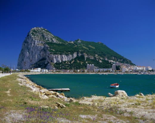 Stock Photo: 442-4398A Boat in the sea near the Rock of Gibraltar, Gibraltar