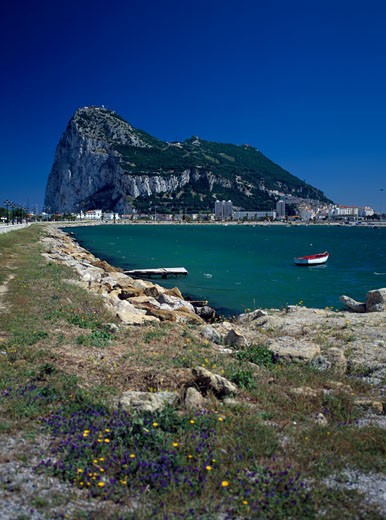 Stock Photo: 442-4398B Boat in the sea near the Rock of Gibraltar, Gibraltar