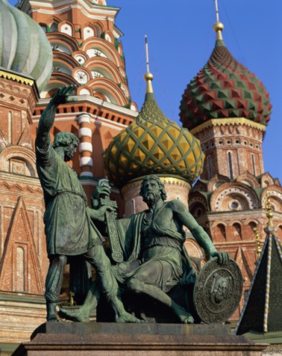 Stock Photo: 442-4425 Monument of Minim and Pozharsky, St. Basils Cathedral, Moscow, Russia