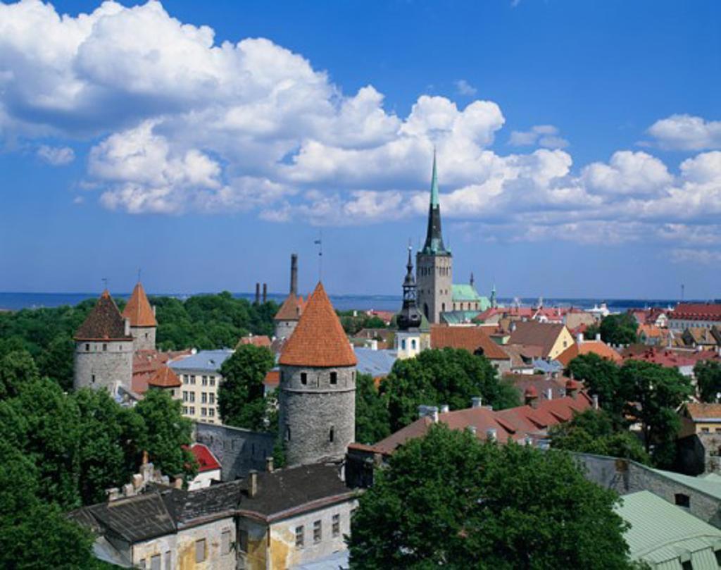 High angle view of a city, Tallinn, Estonia : Stock Photo