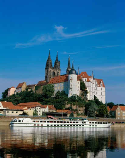 Ancient buildings along the Elbe River, Meissen, Germany : Stock Photo