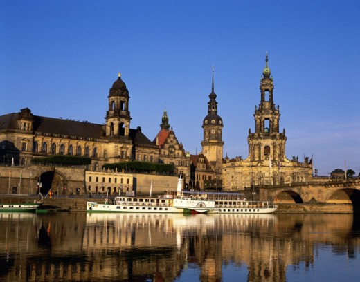 Stock Photo: 442-4491A Tourboats at a dock, Elbe River, Dresden, Germany