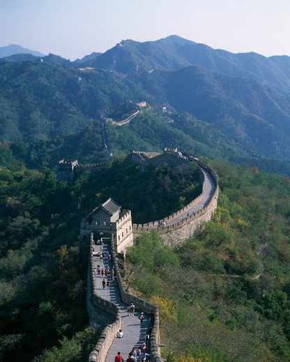 Stock Photo: 442-4551 High angle view of the Great Wall, Mutianyu, China