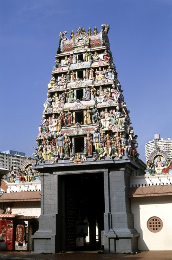 Facade of a temple, Sri Mariamman Temple, Singapore : Stock Photo