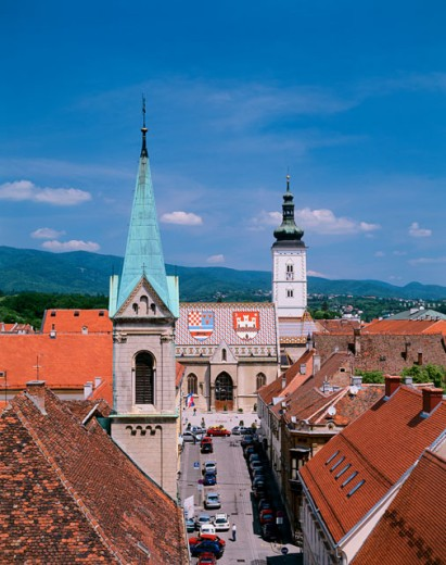 Aerial view of buildings in a city, Zagreb, Croatia : Stock Photo