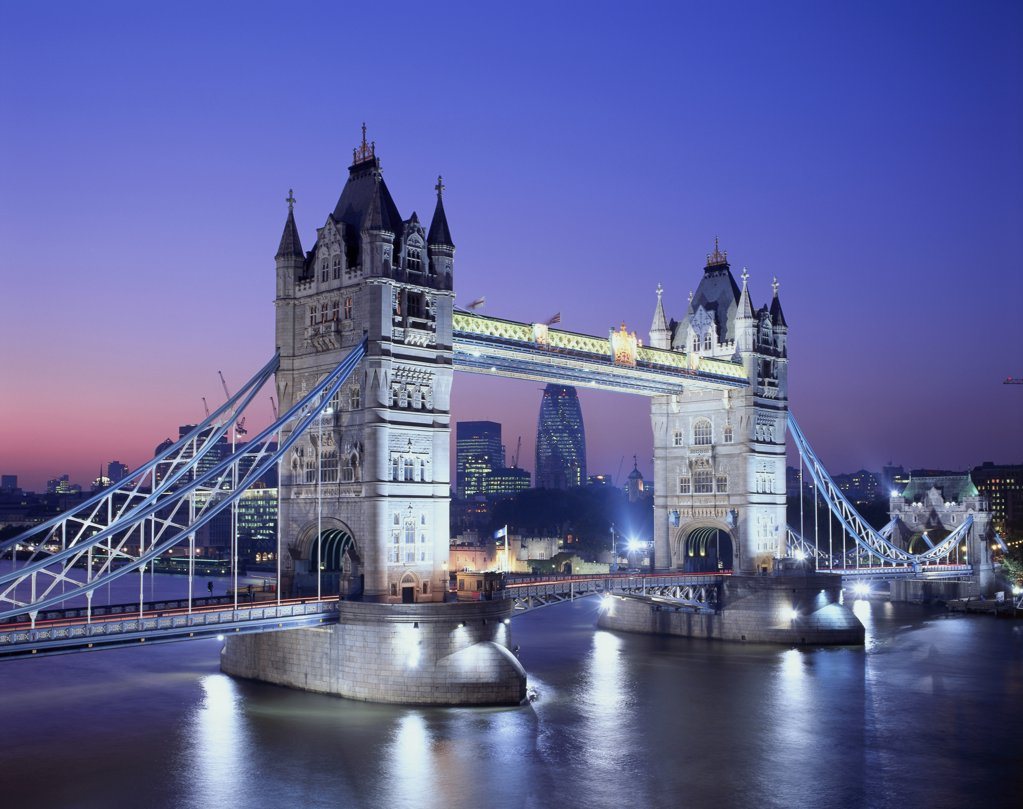 Stock Photo: 442-5100C Bridge lit up at night, Tower Bridge, London, England
