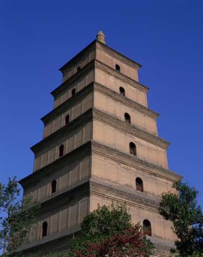 Stock Photo: 442-5376 Low angle view of a pagoda, Great Wild Goose Pagoda, Xi'an, China