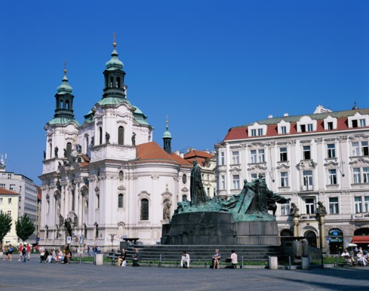 Low angle view of a church, Old Town Square, Prague, Czech Republic : Stock Photo