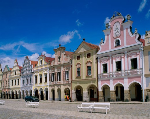 Facade of buildings, Telc, Moravia, Czech Republic : Stock Photo