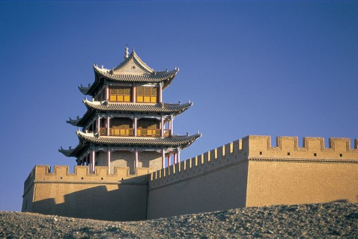 Stock Photo: 442-5616 Low angle view of Jiayuguan Fortress, Jiayuguan, China