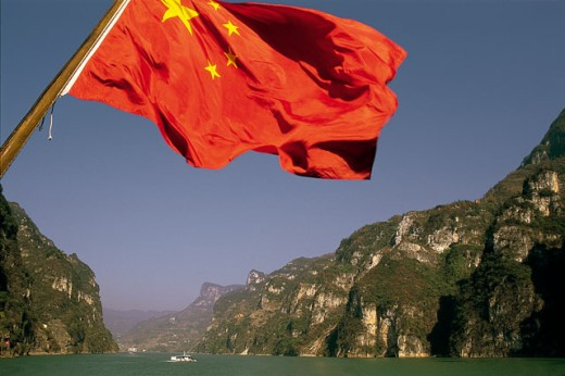 Close-up of the Chinese flag, Xiling Gorge, Hubei, China : Stock Photo