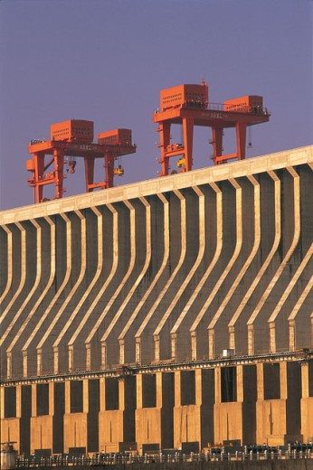 Low angle view of a dam, Three Gorges Dam, Hubei, China : Stock Photo