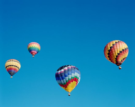 Stock Photo: 442-5691 Low angle view of hot air balloons in the sky, Albuquerque, New Mexico, USA