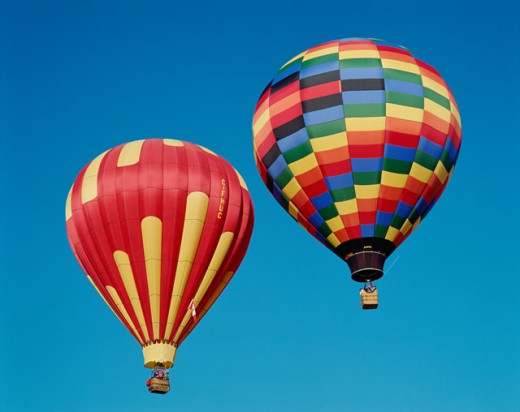 Stock Photo: 442-5695 Low angle view of hot air balloons in the sky, Albuquerque, New Mexico, USA