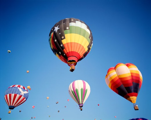 Stock Photo: 442-5697 Low angle view of hot air balloons in the sky, Albuquerque, New Mexico, USA