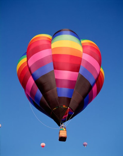Low angle view of hot air balloons in the sky, Albuquerque, New Mexico, USA : Stock Photo