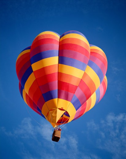 Stock Photo: 442-5745 Low angle view of a hot air balloon in the sky, Albuquerque, New Mexico, USA